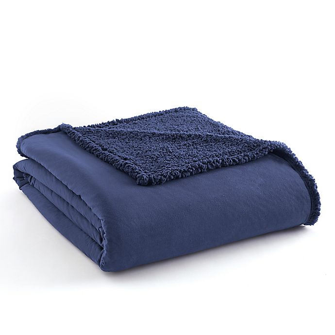 Alternate image 1 for Micro Flannel® Reversible Sherpa Twin Blanket in Blue