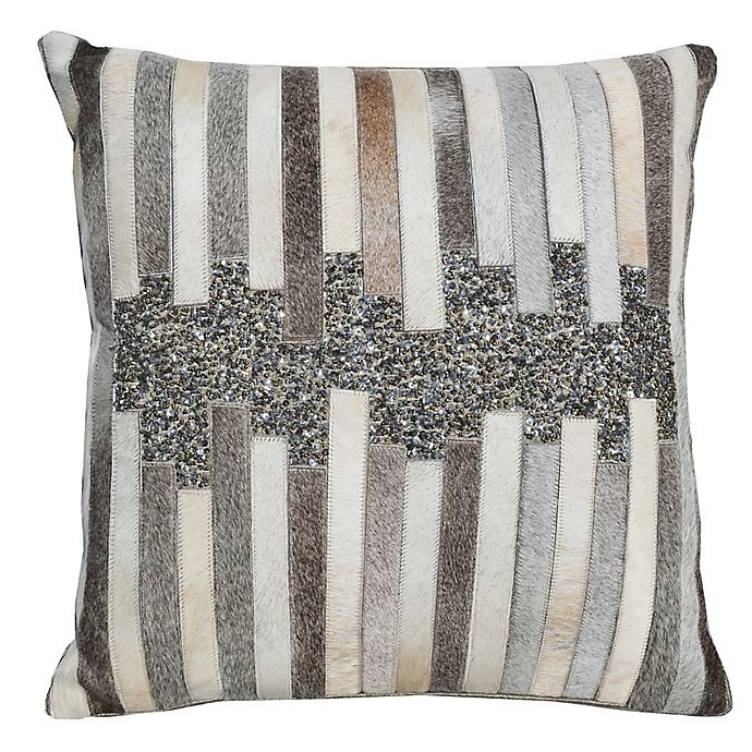 Alternate image 1 for Sequined Hide Square Throw Pillow in Grey