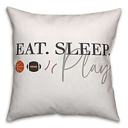 "Designs Direct ""Eat. Sleep. Play"" Square Throw Pillow"