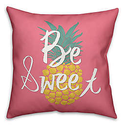 "Designs Direct ""Be Sweet"" Square Throw Pillow in Pink/Yellow"