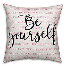 "Designs Direct ""Be Yourself"" Square Throw Pillow in Pink/Black/White"