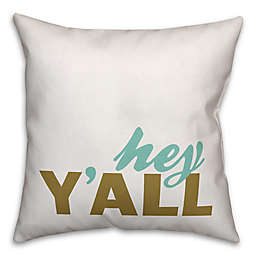 "Designs Direct ""Hey Y'All"" Throw Pillow in Teal/White"