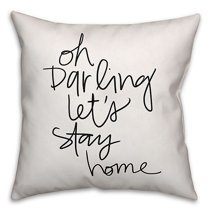 Alternate image 1 for Designs Direct Let's Stay Home Throw Pillow in Black/White