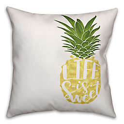 "Designs Direct ""Life Is Sweet"" Throw Pillow in Yellow/Green"