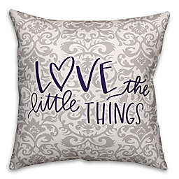 """Designs Direct """"Love the Little Things"""" Square Throw Pillow in Purple/Grey"""