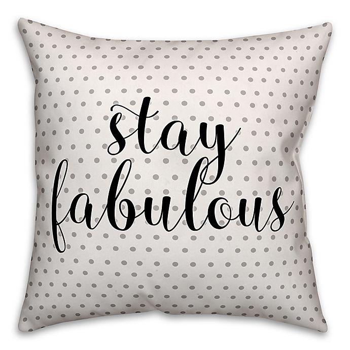 Alternate image 1 for Designs Direct Stay Fab Square Throw Pillow in Black/Grey