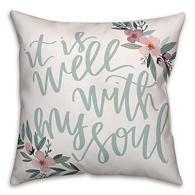 Designs Direct Well with my Soul Square Throw Pillow in Teal/Pink/Green