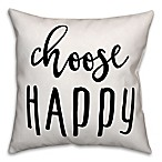 Designs Direct  Choose Happy  Throw Pillow in Black/White