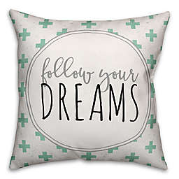 "Designs Direct ""Follow Your Dreams"" Throw Pillow in Black/White/Teal"