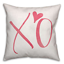 Designs Direct XO Square Throw Pillow in Pink/White