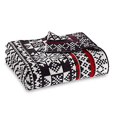 Fair Isle Throw Blanket in Grey/White
