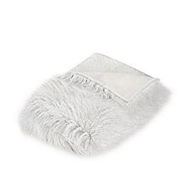 Mongolian Faux Fur Throw Blanket in Ivory