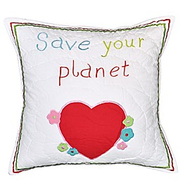 Amity Home Save Our Planet Square Throw Pillow in White