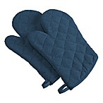 Design Imports Terry Oven Mitts in Blue (Set of 2)
