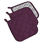 Design Imports Terry Pot Holders in Eggplant (Set of 3)