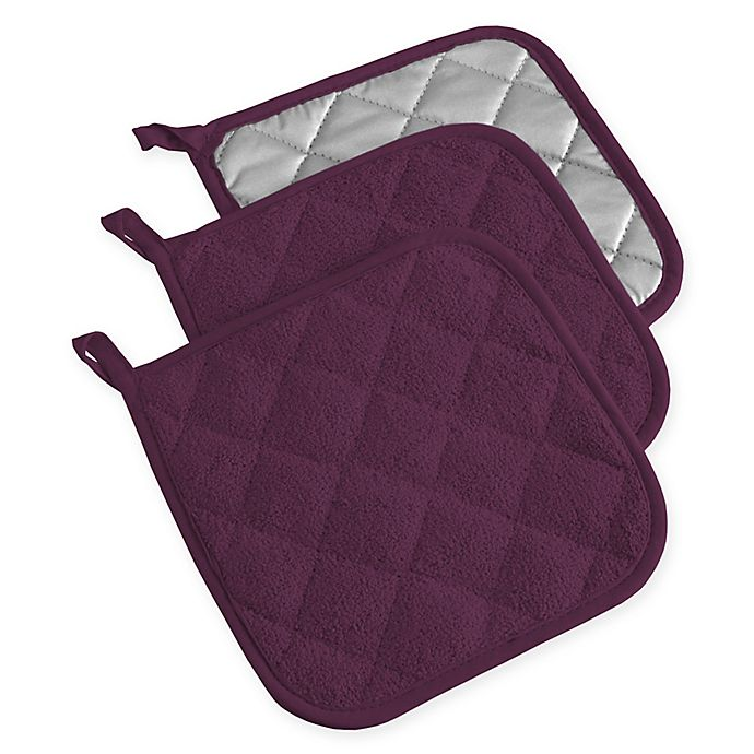 Alternate image 1 for Design Imports Terry Pot Holders in Purple (Set of 3)