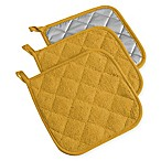 Design Imports Terry Pot Holders in Mustard (Set of 3)