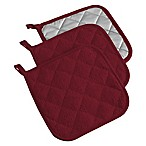 Design Imports Terry Pot Holders in Burgundy (Set of 3)
