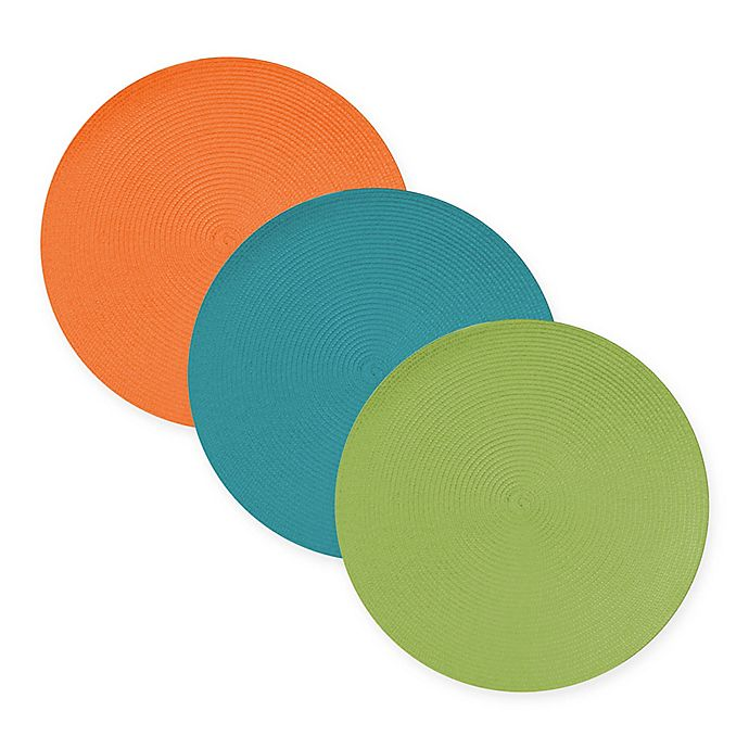 Alternate image 1 for Round Woven Indoor/Outdoor Placemats (Set of 6)