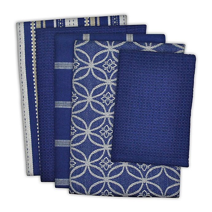 Alternate image 1 for Design Imports 5-Piece Patterned Kitchen Towel and Dish Cloth Set in Blue/White