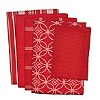 Design Imports 5-Piece Patterned Kitchen Towel and Dish Cloth Set in Red/White