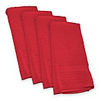 Design Imports Waffle Kitchen Towels in Red (Set of 4)