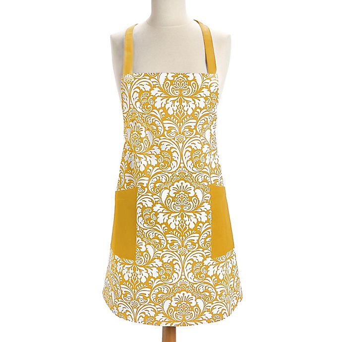 Alternate image 1 for Design Imports Damask Apron in Yellow