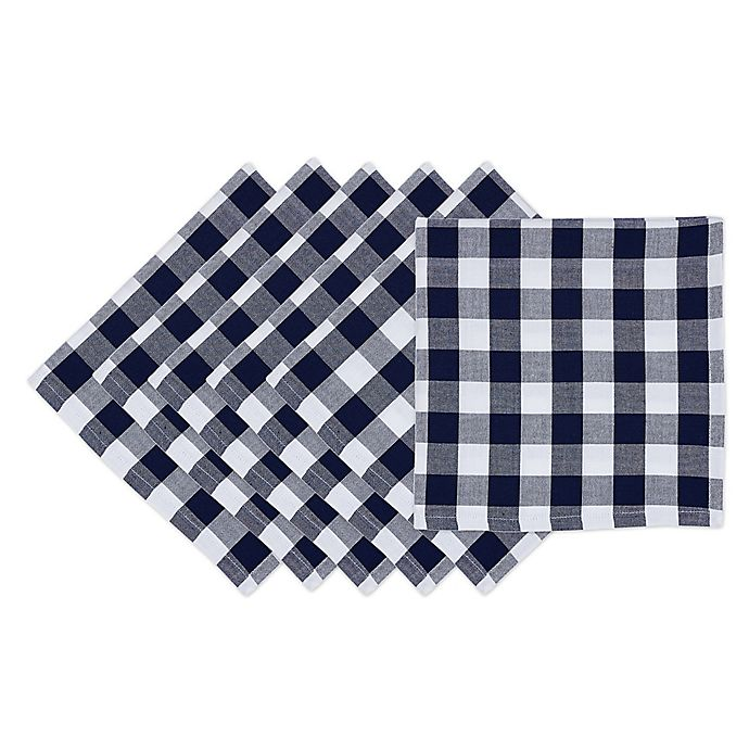 Alternate image 1 for Design Imports Checker Napkins in Nautical Blue (Set of 4)