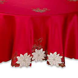 Kori Poinsettia 70-Inch Round Tablecloth in Red