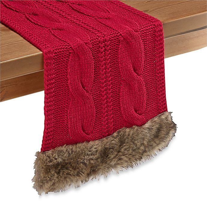 Alternate image 1 for Cozy Claus Table Runner in Red