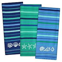Design Imports 3-Piece Blue Sea Embroidered Kitchen Towel Set