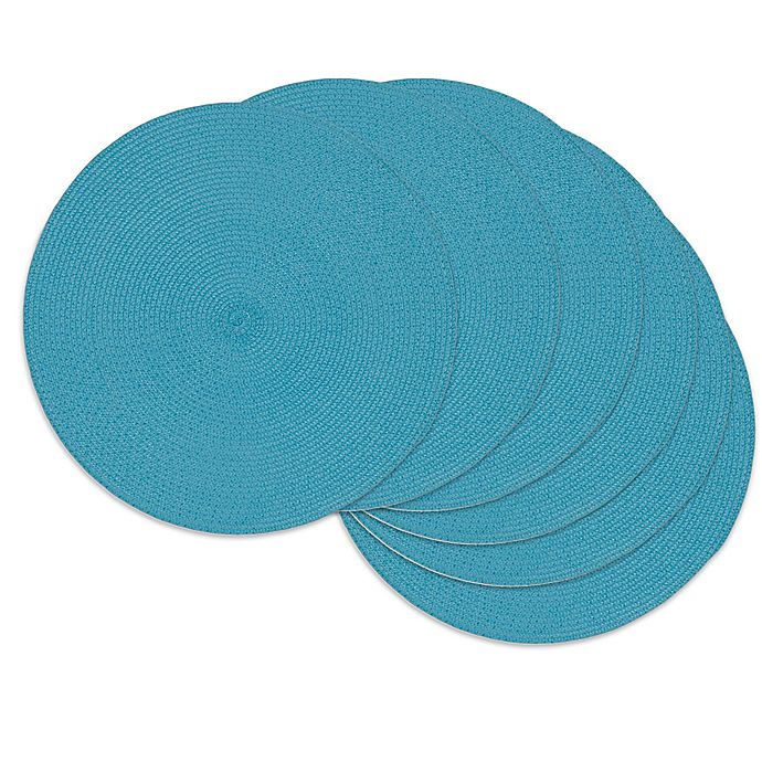 Alternate image 1 for Design Imports Round Woven Indoor/Outdoor Placemats in Aqua (Set of 6)