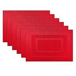 Design Imports Double Frame Placemats in Red (Set of 6)