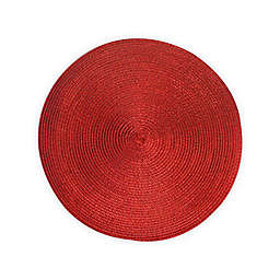 Round Woven Metallic Placemats in Red (Set of 6)