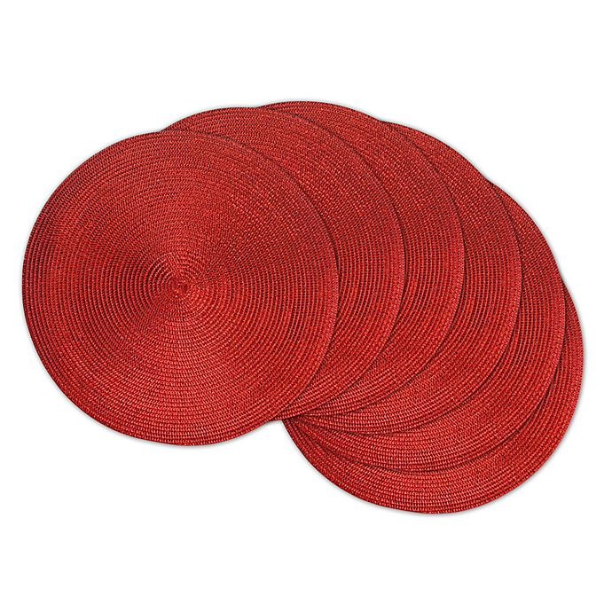 Alternate image 1 for Design Imports Round Woven Metallic Placemats in Red (Set of 6)