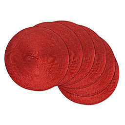 Design Imports Round Woven Metallic Placemats in Red (Set of 6)