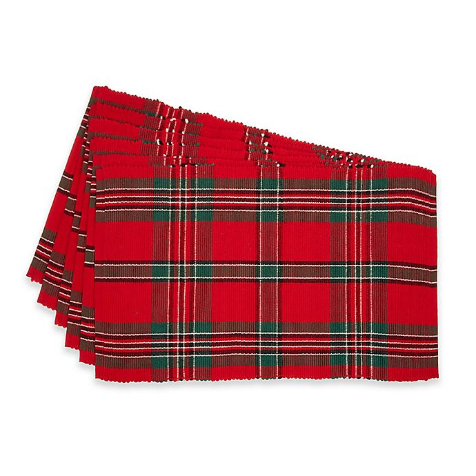 Alternate image 1 for Design Imports Holiday Plaid Placemats (Set of 6)