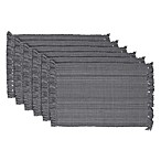 Design Imports Variegated Fringed Placemats in Grey (Set of 6)