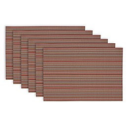 Design Imports Micro Stripe Placemats in Red (Set of 6)