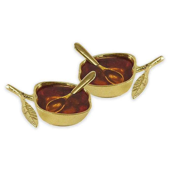 Alternate image 1 for Classic Touch Mundane 2-Piece Salt/Honey Dish and Spoon Set in Gold