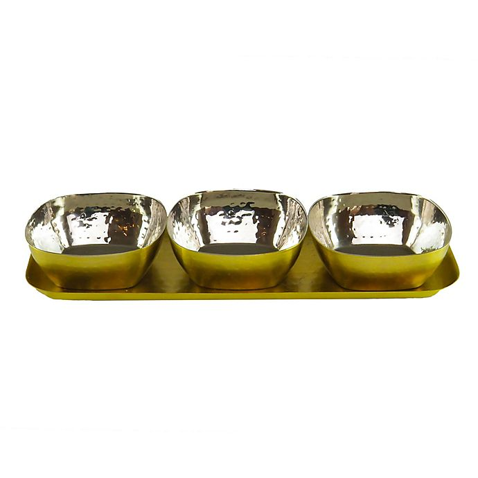 Alternate image 1 for Classic Touch Mundane 4-Piece Condiment/Relish Serving Set in Gold