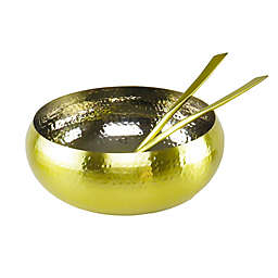Classic Touch Mundane 3-Piece Salad Serving Set in Gold