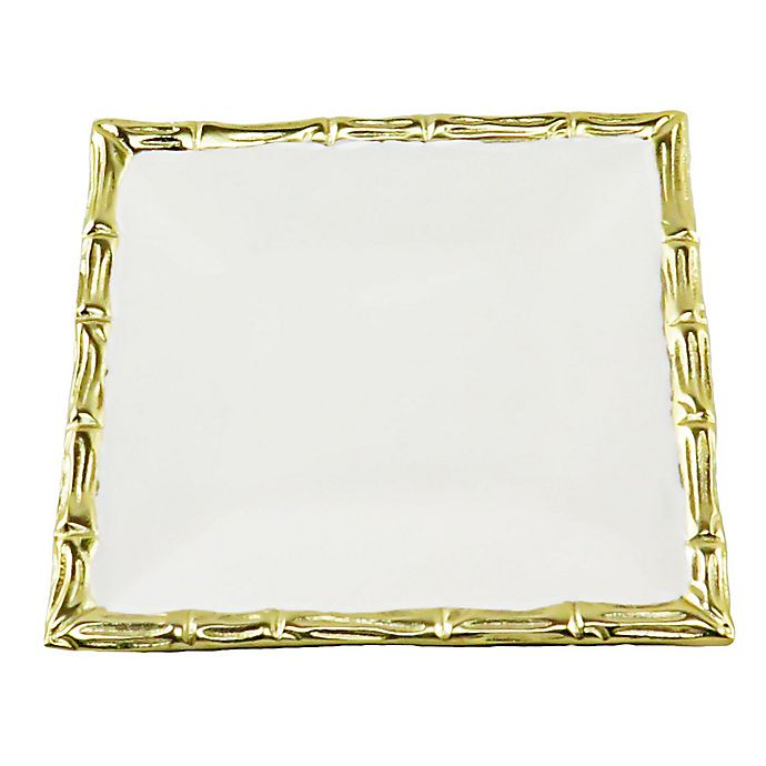 Alternate image 1 for Classic Touch Mundane 7-Inch Square Tray in White/Gold