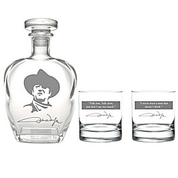 Rolf Glass John Wayne Quotes Series 1 Whiskey Decanter with Rocks Glasses 3-Piece Set