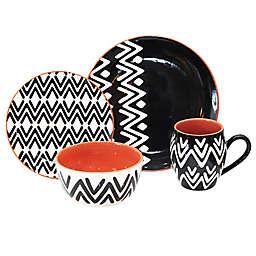 Baum Wavy Black Lines 16-Piece Dinnerware Set in Black/White