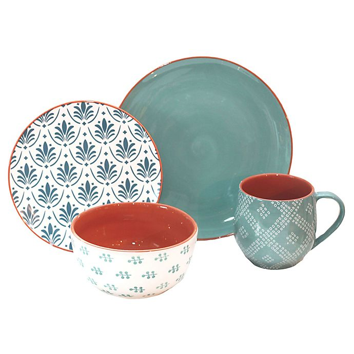 Alternate image 1 for Baum Oasis 16-Piece Dinnerware Set in Turquoise