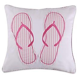 Levtex Home Melanie Flip Flops Square Throw Pillow in White/Pink