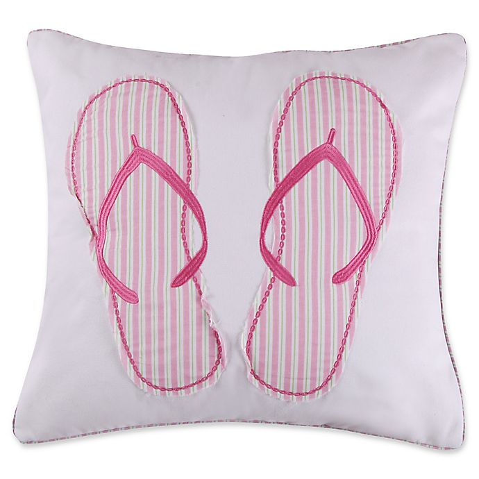 Alternate image 1 for Levtex Home Melanie Flip Flops Square Throw Pillow in White/Pink