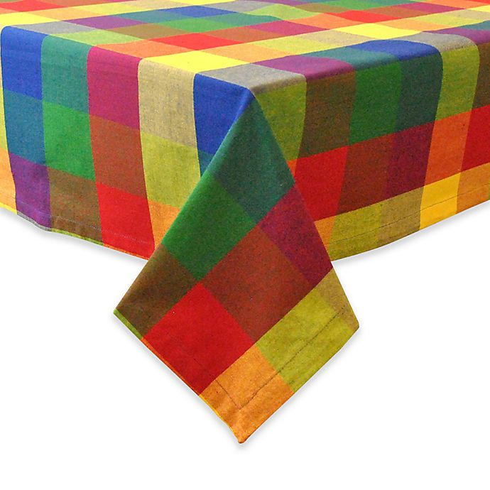 Alternate image 1 for Design Imports Palette Check Indian-Inspired Summer 52-Inch Square Tablecloth