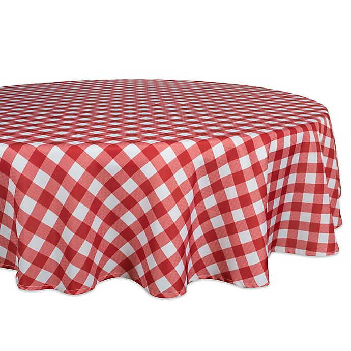 Alternate image 1 for Design Imports Checkers 70-Inch Round Tablecloth in Red/White
